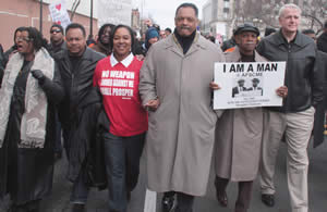 "Rev. Jesse Jackson, along with Congresswoman Gwen Moore, State Senator Spencer Coggs, State Senator Lena Taylor and Milwaukee Mayor Tom Barrett led a march last Saturday from King Drive to Arrow Park to encourage early voting. The purpose of the march organized by the Milwaukee NAACP themed, ""March Fit For a King"" was in honor of Dr. Martin Luther King, Jr.'s 43rd Assassination Anniversary wa"