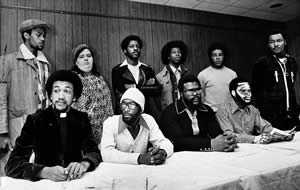 - 1976-press-conference-Benjamin-Chavis-William-Joe-Wright-Connie-Tindall-Jerry-Jacobs-Wayne-Moore-Anne-Sheppard-Willie-Earl-Vereen-James-McKay-Marvin-Patrick-Reginald-Epps