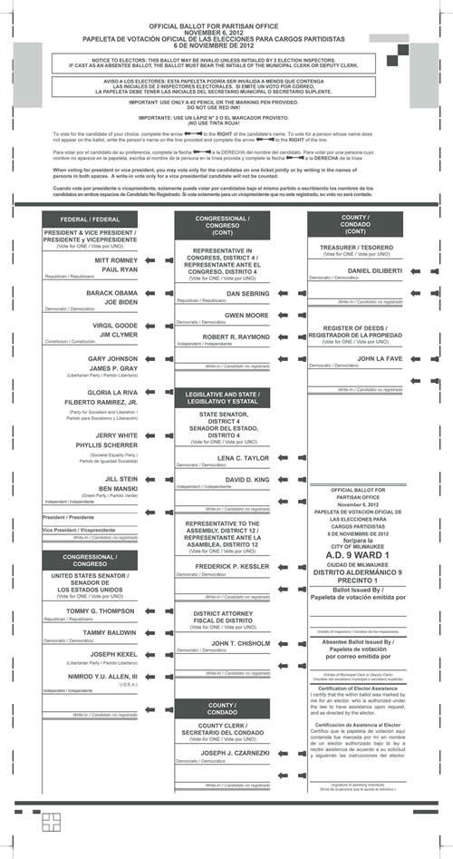 2012 us presidential sample ballot | just b.CAUSE