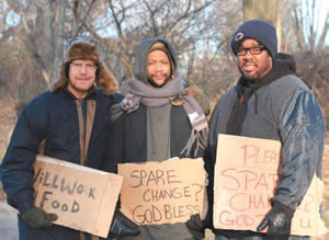 Tim Metcalfe, left, owner of Metcalfe's Market, Will Green, center, director of the Mentoring Positives Inc. and the Salvation Army Community Center, and Michael Johnson, CEO of the Boys and Girls Club of Dane County, went undercover to experience life as homeless men.