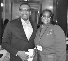 34th annual Tribute and Ceremony host Jonathan Overby with Carola Gaines