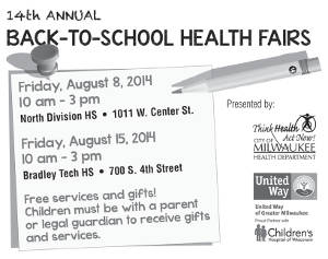 City of Milwaukee Health Department Announces Dates and Locations for Annual Back-to-School Health Fairs
