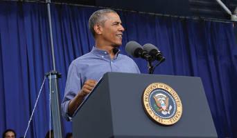 President Barack Obama at Labor Fest (Photo by Michele A. Kieweg.)