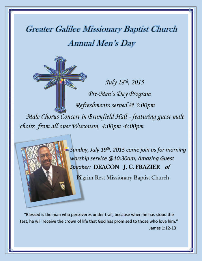 Annual Mens Day At Greater Galilee Missionary Baptist Church