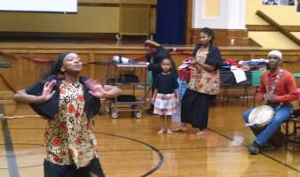 Youth African dance company performing during open mic segment. Photo by Mrinal Gokhale.