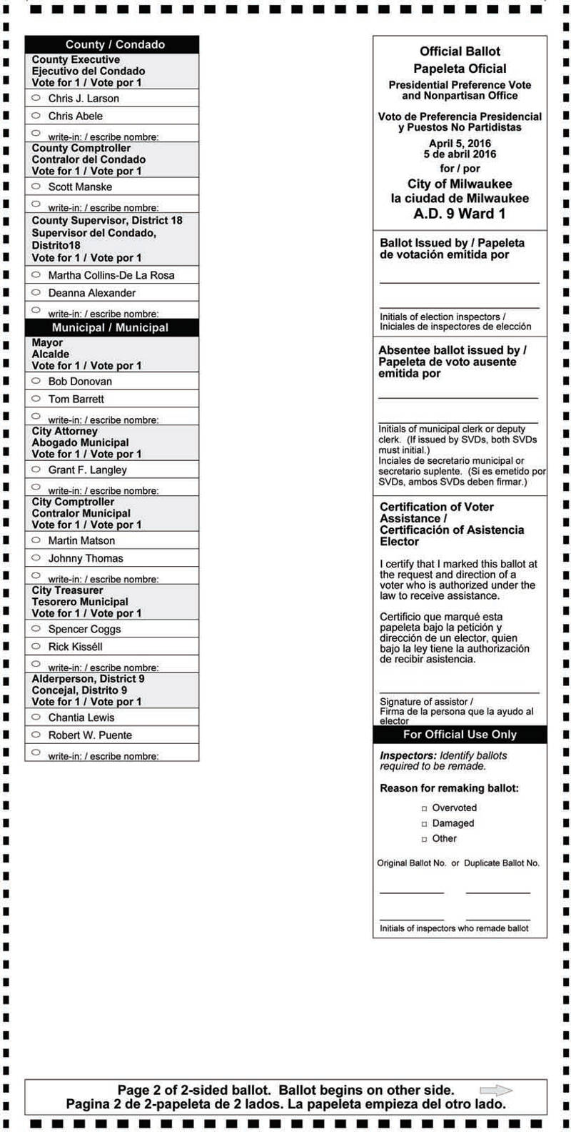 Sixth image of Notice Of Spring Election And Sample Ballots April 1 2014 with Notice of Spring Election and Presidential Preference Vote ...