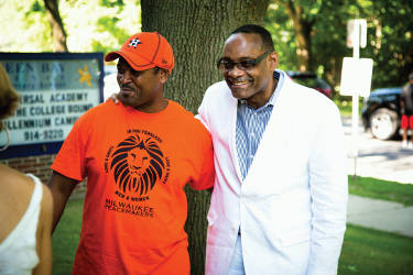 Milwaukee Common Council President Ashanti Hamilton and Rahim Islam President/CEO of Universal Companies. (Photo by Parkhill Media)