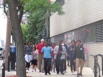 Mayor Barrett and teens from the Summer Youth Internship Program walking downtown as part of the Mayor's 100 Miles in 100 Days Challenge. (Photo by Karen Stokes)