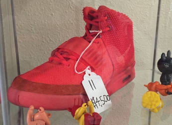 """The limited pair of AIR Yeezy 2 SP """"Red October"""" are the most expensive shoe at Trusted Kicks running at $4,500. (Photo by Dylan Deprey)"""