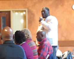 Marshall Harley presenting his idea for Green Source Juice Bar Café and Lounge. (Photo by Karen Stokes)