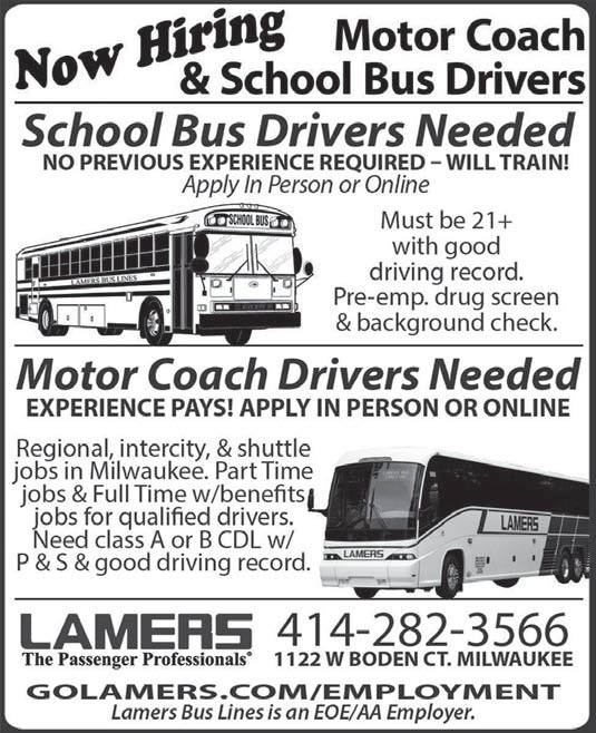 Positions open motor coach and school bus drivers at for Motor coach driving jobs